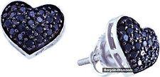 black diamond .41 carat heart 10K white gold stud earrings screwback