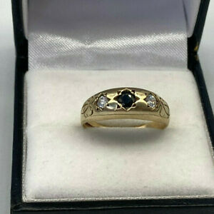 Vintage 9ct Gold Sapphire & Zircon Gypsy Ring.  Goldmine Jewellers.