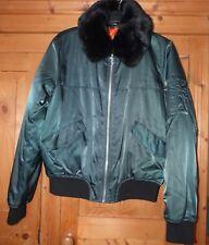 Ladies Green Satin TOPSHOP Bomber Jacket Size 10