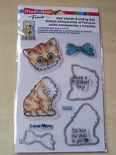 STAMPENDOUS - CLEAR STAMPS AND CUTTING DIES - CAT - 9 PIECES