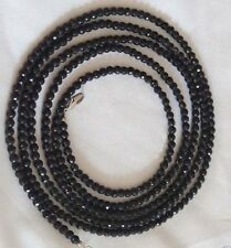 4mm FACETED GENUINE TOP NATURAL STRAND BLACK ONYX BEADS NECKLACE 58''