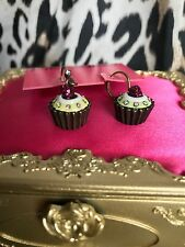 Betsey Johnson Betsey Goes To Paris Vintage Cupcake Fruit Tart Mismatch Earrings