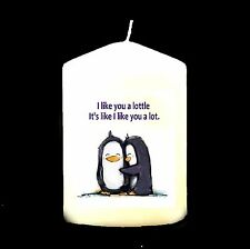 Candle Picture Penguins Can Be Personalised Gift Birthday Valentine Love New #1