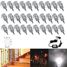 30Pcs Cool White 19mm 12V Mini Garden Path Plinth LED Deck Rail Stair Lights Kit