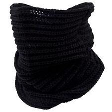 Women Lady Knit Neck Circle Cowl Warmer Scarf Shawl Wrap Loop Winter Black UK N3