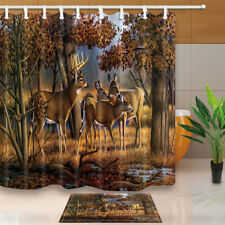 White-tailed deer in the forest Shower Curtain Bathroom Fabric & 12hooks 71*71in
