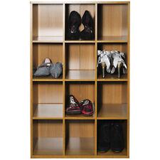 Casier - 12 Pair Stockage de Chaussures/ Présentation/ Média Tablettes - Chêne