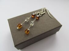 Handmade Golden Honey Brown Square Cube Beady Illusion Miracle Earrings
