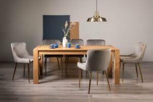 Blake Light Oak 8-10 Seater Dining Table & 8 Cezanne Grey Velvet Fabric Chairs w