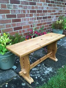 Solid Pine Bench Shabby Chic, Vintage FARMHOUSE KITCHEN Dining - Original 80s