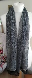 Grey and Black Patterned Long Scarf