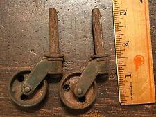 ESTATE ATTIC FRESH Lot of 2 Antique Industrial Cast Iron Wheel Casters (#30)
