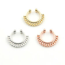 NEW Fake Septum Clicker Non Piercing Nose Clip on Hanger Cheater Body Ring party