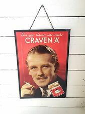 "Craven ""A"" Cigarette Sign Tobacco Vintage Tin Metal For Your Throats Sake MCM"