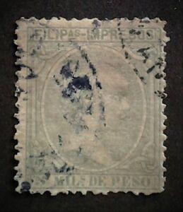 Spanish Philippines 1892 5m green used Scott P18 (ref 501)