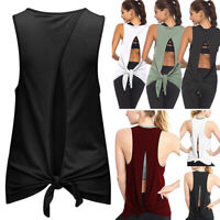 NEW Womens Workout Gym Yoga Vests Sportswear Tee Tank Tops T-Shirt Stretchy C310