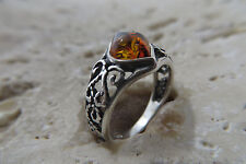 Baltic Amber Ring in Sterling Silver #1021 Size 5, Size J 1/2, Size 49 Cognac