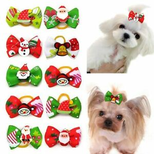 10 Pcs Christmas Dog Hair Accessories Pet Dog Hair Bows Holiday Party Dogs
