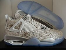 NIKE AIR JORDAN 4 RETRO LASER WHITE-CHROME-METALLIC SILVER SZ 13 [705331-05]