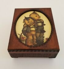 Vtg Hummel Boys Inlay Jewelry Reuge Music Box Wood Hinged Case Made in Germany