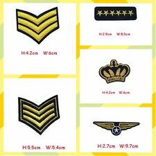 5 pcs Iron-On Sewing Applique Army Badge Military Rank Embroidered Patch