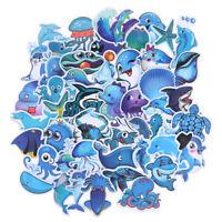 49Pcs Cute Blue Sea Marine Animals Stickers Suitcase Laptop Skateboard Decals CF