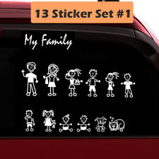 13 Stick Figure My Family Car Decal Sticker (Style#1) Pet Dog Cat for Car Window