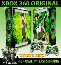Xbox 360 Aufkleber Ben 10 Tennison Omnitrix Alien Hülle & 2 X Controller Polster
