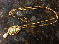 "Jade Pearl Goldtone Rope 16"" Necklace Euc Jbk Camrose & Kross Egg Pendant Faux"