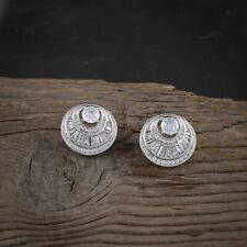 Women Cubic Zirconia Stud Earrings Silver Plated Round Ear Stud Fashion Jewelry