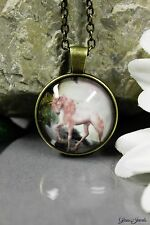 Glass Jewels Bronze Halskette Anhänger Cabochon Fantasy Einhorn Unicorn #N013