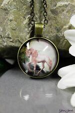 Glass Jewels Bronze Halskette Anhänger Cabochon Fantasy Einhorn Unicorn #N013