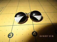 ESTATE STERLING SILVER INLAY MOTHER OF PEARL~BLACK ONYX EARRINGS b 334