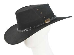 Black Jacaru Leather Australian Outback Hat Made in Australia. Water reistsant