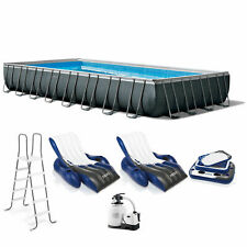 Bestway 31.3ft x 16ft x 52in Above Ground Pool Set with Pump and Surface Skimmer