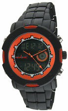 Peugeot Men's 1024 Digital Chronograph Black Orange Lap timer- Alarm Watch
