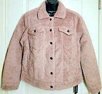 BLANKNYC Women's Cozy Teddy Faux Shearling Trucker Jacket Mauve Pink Size S NWT