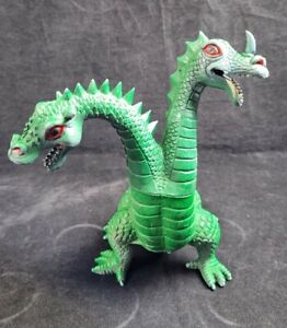 """Vintage Imperial Green Two Headed Dragon Plastic 8"""" Toy Hong Kong 1983"""