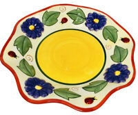 JKL Pottery Scalloped Edged Bright Floral Ladybug Design Footed Candy Bowl