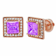 2.3 Princess Halo Studs Natural Amethyst Solid 18k Rose Gold Earrings Screw back