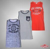 Mens Designer Lee Cooper Stylish Logo Print Fashion Vest Loose Top Size S-XXL