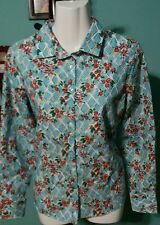 Land's End Lattice & Floral Print Button Front Tapered Shirt (8P)