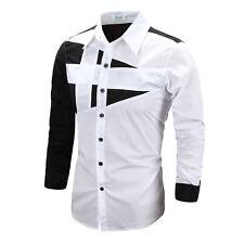 Mens Luxury Dress Shirt Designer Long Sleeve Casual Slim Fitted T-Shirt Tee Tops
