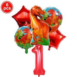 6pcs Set Dinosaur Party Foil Balloons 1-9 Birthday Party Decoration Kids Toys