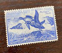 US Scott #RW19 1952 $2 Duck Stamp, Hinged OG Well Centered.