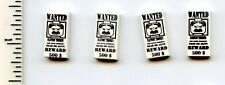 LEGO x 4 White Tile 1 x 2 with 'WANTED' 500 Reward Poster Pattern Western