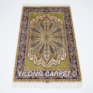 2.7'x4' Handwoven Silk Carpet Green Home Office Tapestry Indoor Rug YWX207A