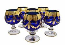 Interglass Italy Set of 6 Glasses Royal Blue Crystal Whisky DOF, 24K Gold