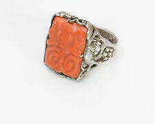 Vintage Chinese Carved Coral Silver Ring