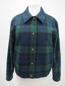 P4324 VTG Pendleton Women's Plaid 100% Wool Jacket Made in USA Size L